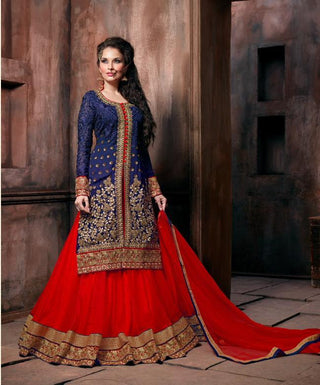 Red and blue floor length long suits with lehenga style heavy embroidered semi stitched suits