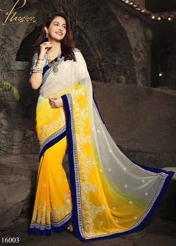 Saree Yellow , white,Chiffon
