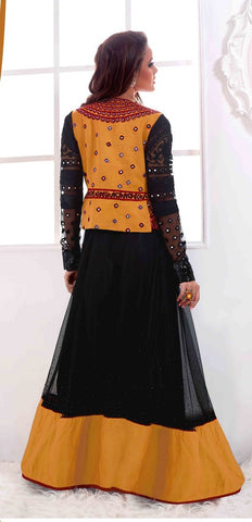 Black designer long floor length anarkali suits with red jacket and chiffon dupatta