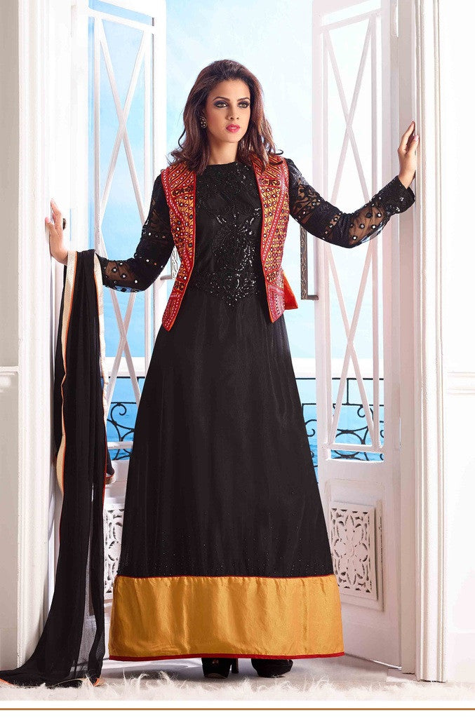 3b052d2cde Black designer long floor length anarkali suits with red jacket and chiffon  dupatta
