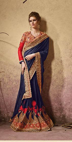 Blue and red pure georgette saree with designer blouse