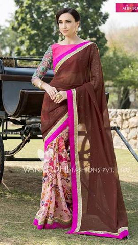 Brown,Pure georgette,Casual office wear designer saree