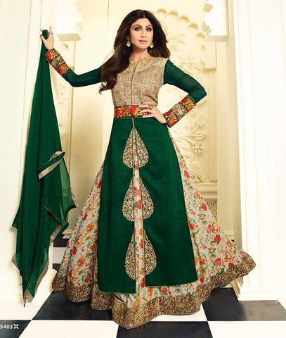 Green  ,Silk,Anarkali designer heavy party wear floor length suits