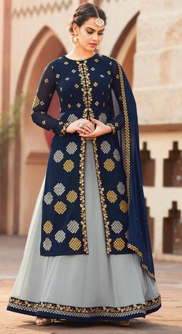 Blue Georgette Party Wear  Salwar Suit With  Dupatta