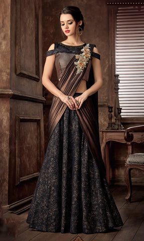 Black Fancy Jacquard Party Wear Lehenga With Copper Dupatta