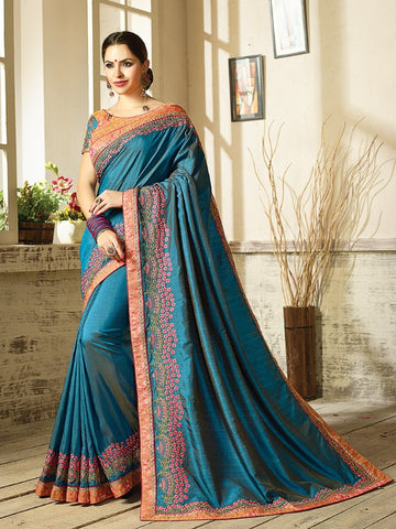 Cyan Two Tone Silk Saree With Blouse