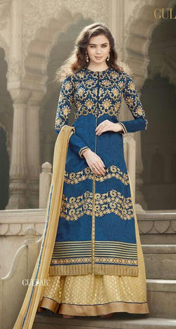 Blue , Beige,Bhagalpuri silk,Heavy designer anarkali suits