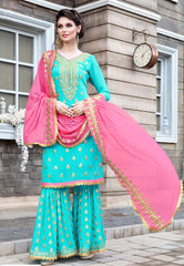 Blue Georgette Sharara Salwar Suit With Pink Dupatta
