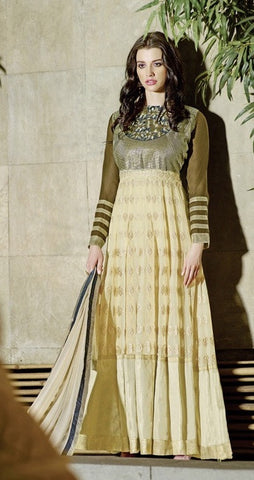 Beige,Georgette,Heavy designer party wear anarkali suits