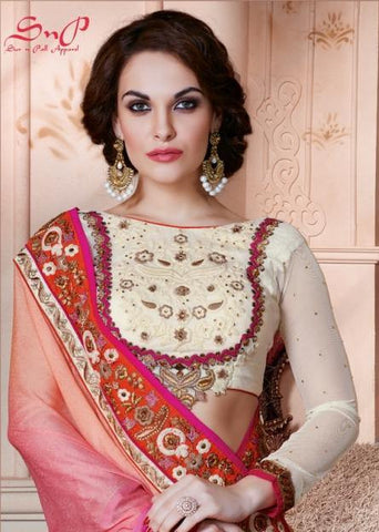Designer pink and beige saree with shaded pallu