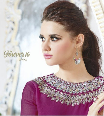 Violet and beige designer long and short semi stitched suits heavy embroidery on neck and heavy hand work on bottom