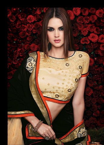 Designer black and orange saree for parties and wedding