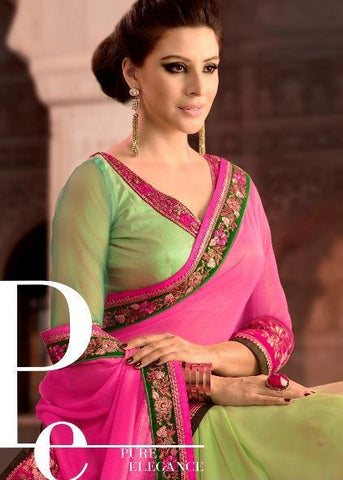 Pink and Green half crepe and georgette saree in double color