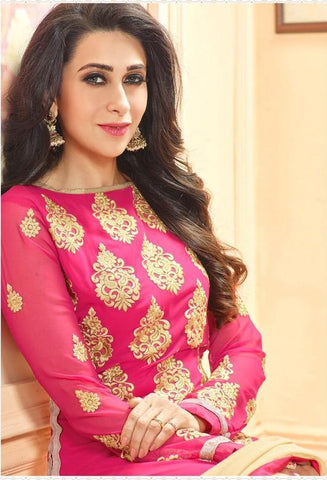 Designer pink heavy embroidered long straight salwar suits with beige dupatta