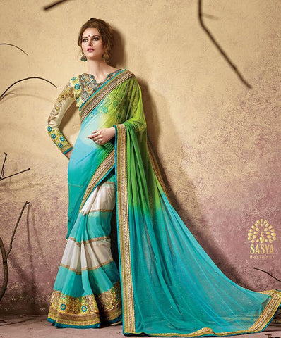 Saree Sky blue , Green , cream,Net