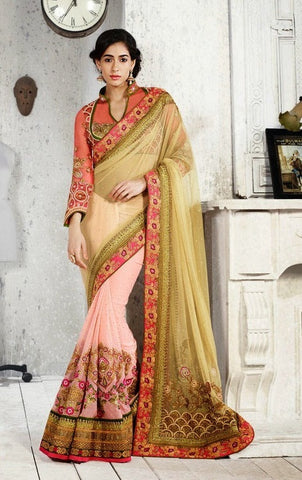 saree Green&Peach,Pink
