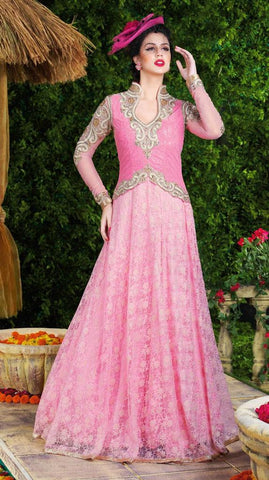 Pink long floor length designer heavy embroidery anarkali frock suits