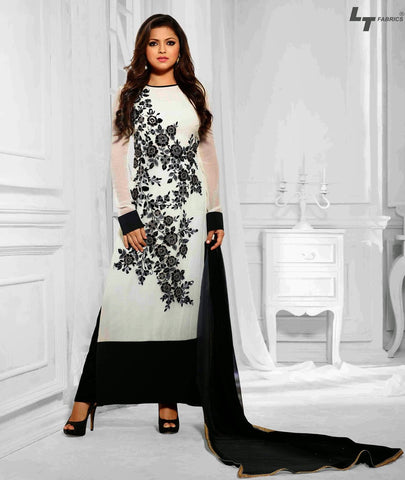 designer suits,fabric georgette,color black,dupatta chiffon