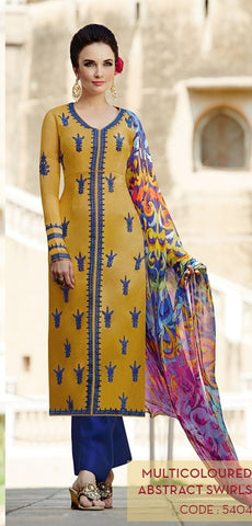 heer suits yellow & Blue,Cotton satin