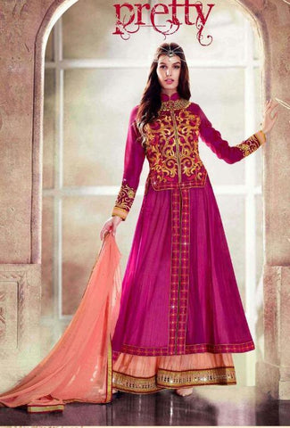 Embroidered pink frock anarkali semi stitched suits