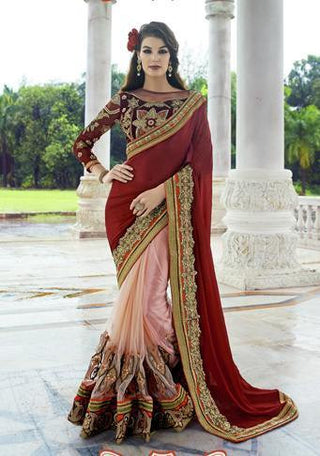 Astonishing designer red and pink chiffon and net saree with embroidery and work