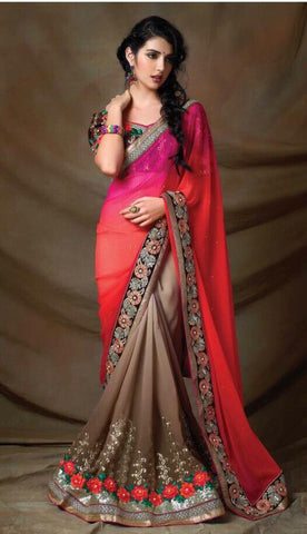 Designer Pink and Beige Saree with embroidered blouse