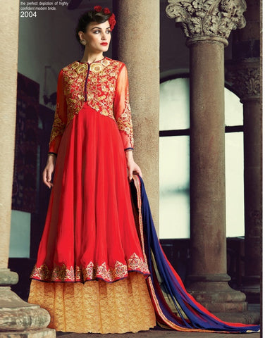 Red and beige long floor length designer heavy embroidery on top anarkali semi stitched suits