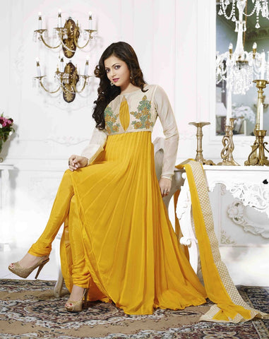 Fabric details : Top :Georgette , Bottom : Santoon ,Dupatta : Chiffon ,Work : Embroidered ,Color : Yellow