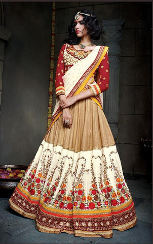 Heavy embroidery designer bridal lehenga with heavy work,Beige , White , Red,Soft net