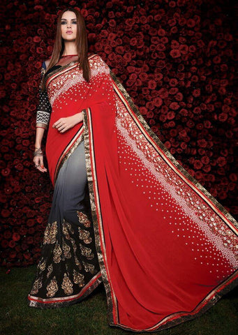 Designer Red georgette pallu saree
