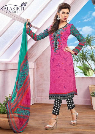 Pink printed straight salwar suits knee length dress material