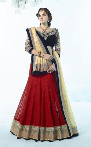Red , Black,Jacqauard,Heavy designer lehenga with heavy embroidery for wedding