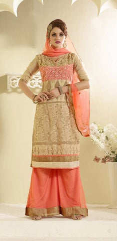 Beige and orange knee length suits with orange dupatta
