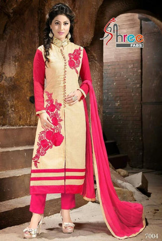 Designer pink and beige salwar suits dress material with pink dupatta