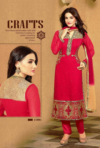 Red,Fox Georgette,Designer straight suits knee length long suits
