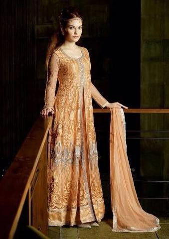 Orange long anarkali suits with chiffon dupatta