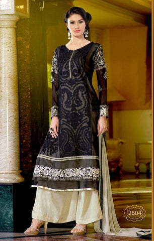 Black and beige knee length embroidered work  on designer salwar suits