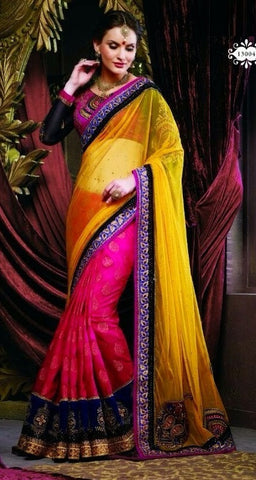 Saree Net GeorgetteBlouse :Fancy,Pink,yellow,black