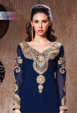 Designer blue long semi stitched suits with heavy embroidered full suits