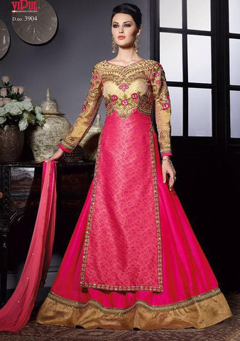 Pink,Tussar silk,Heavy anarkali wedding wear party wear suits