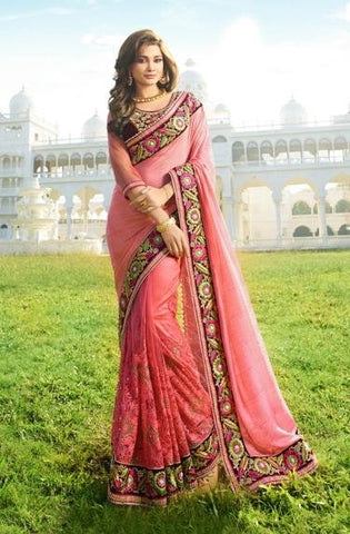 Pink,Net,Heavy party wear bridal designer saree