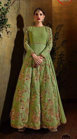 Backless Green  Embroidered Silk  Stonework Anrakali Suits With Dupatta