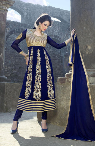 Blue,Georgette,party wear palazo designer suits
