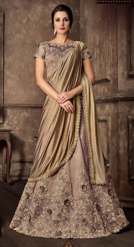 Beige Dual Tone Taffeta Party Wear Lehenga With Chiku Dupatta