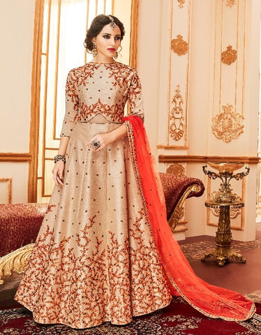 Beige,Silk,Anarkali Suits