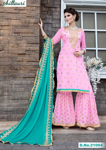 Pink Georgette Sharara Salwar Suit With Green Dupatta
