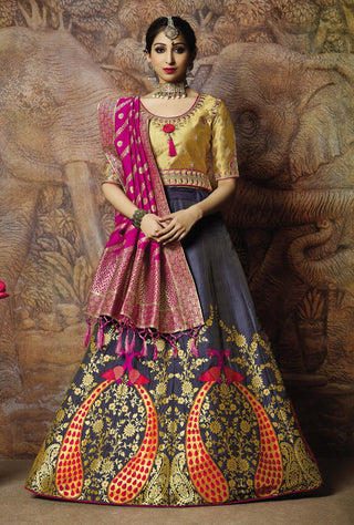 Bluish-Grey Silk Party Wear Lehenga With Golden Choli