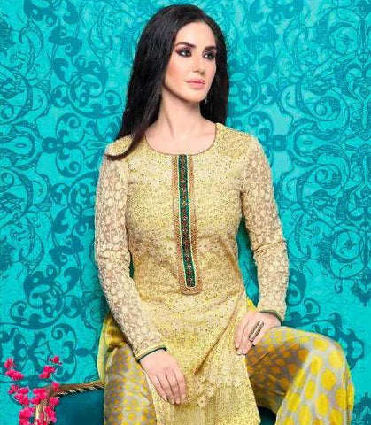 Designer long yellow straight salwar suits with embroidery