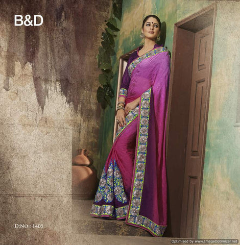 Purple Jacquard Saree with hand work and Embroidery