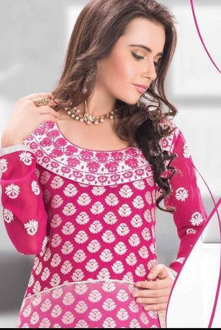 Pink embroidered long salwar suits